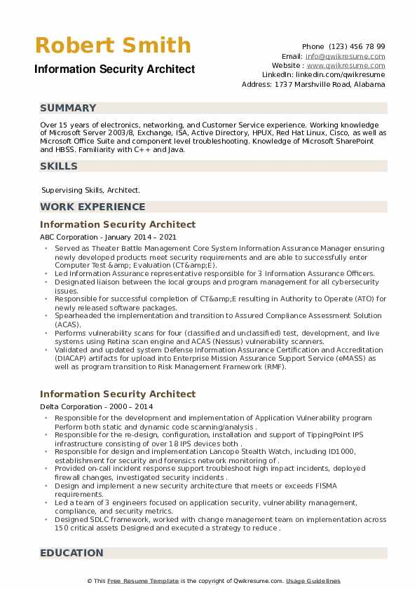 Information Security Architect Resume example