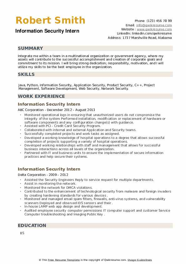 Information Security Intern Resume example