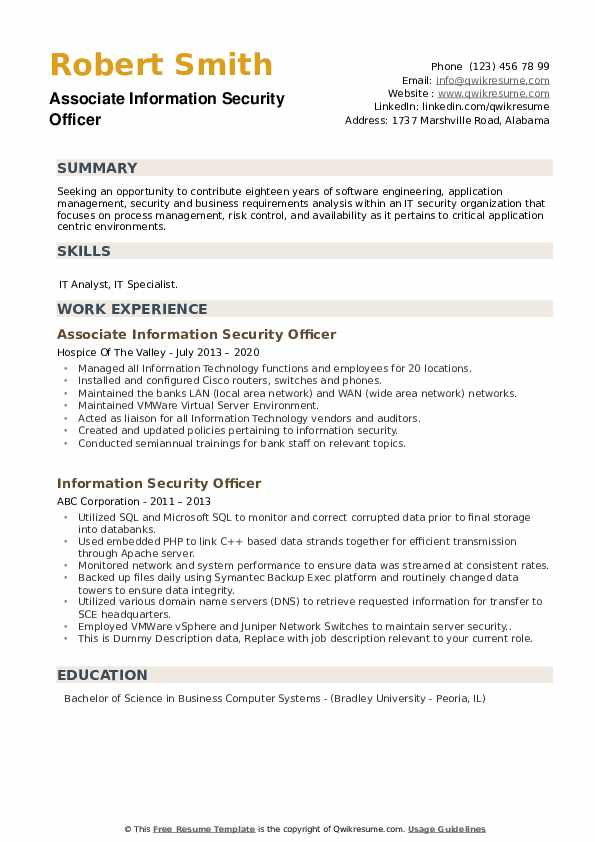 Information Security Officer Resume example