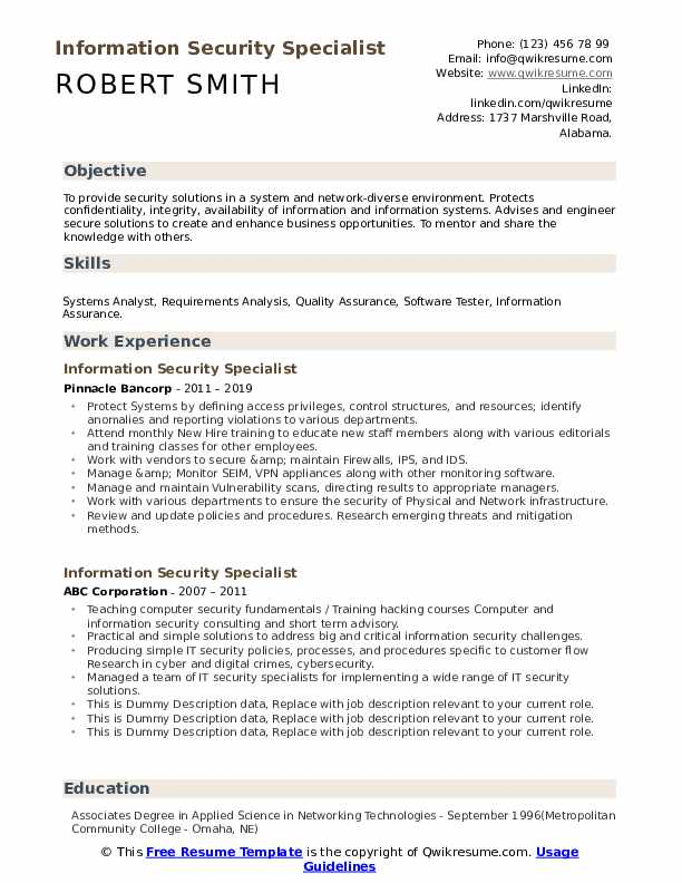 Information Security Specialist Resume example