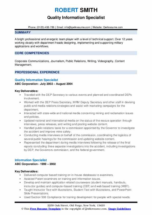 Quality Information Specialist Resume Model