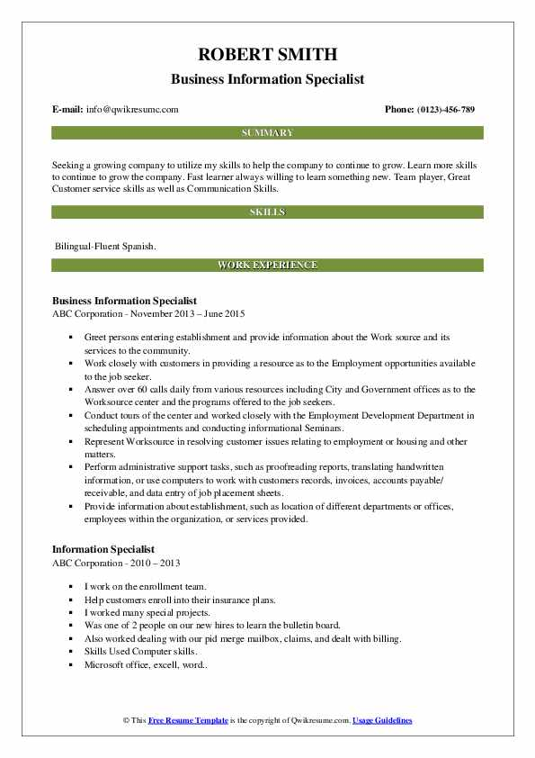 Business Information Specialist Resume Sample