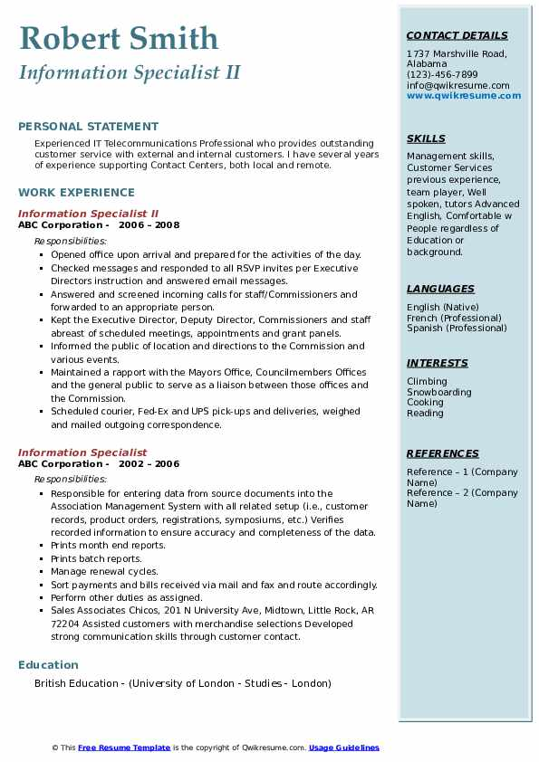 Information Specialist II Resume Template