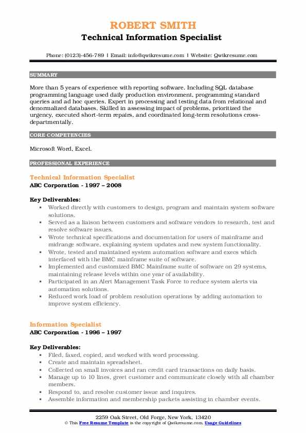 Technical Information Specialist  Resume Template