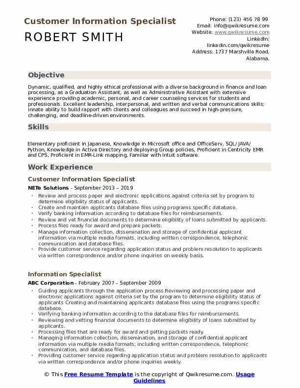 Customer Information Specialist Resume Example