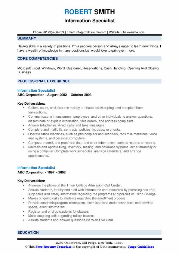 Information Specialist Resume example