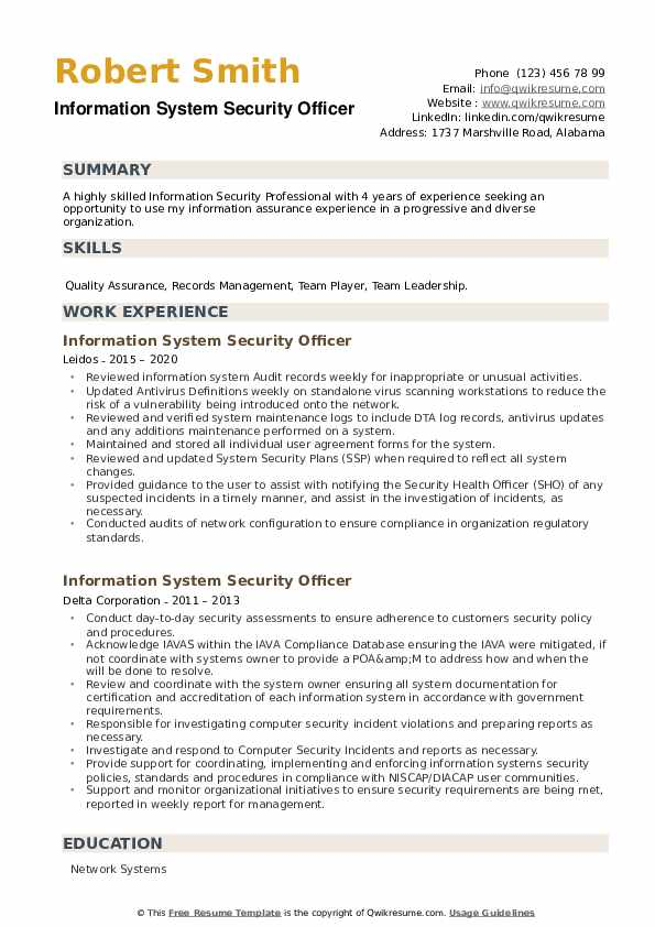 Information System Security Officer Resume example