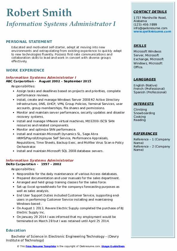 Information Systems Administrator Resume Samples Qwikresume
