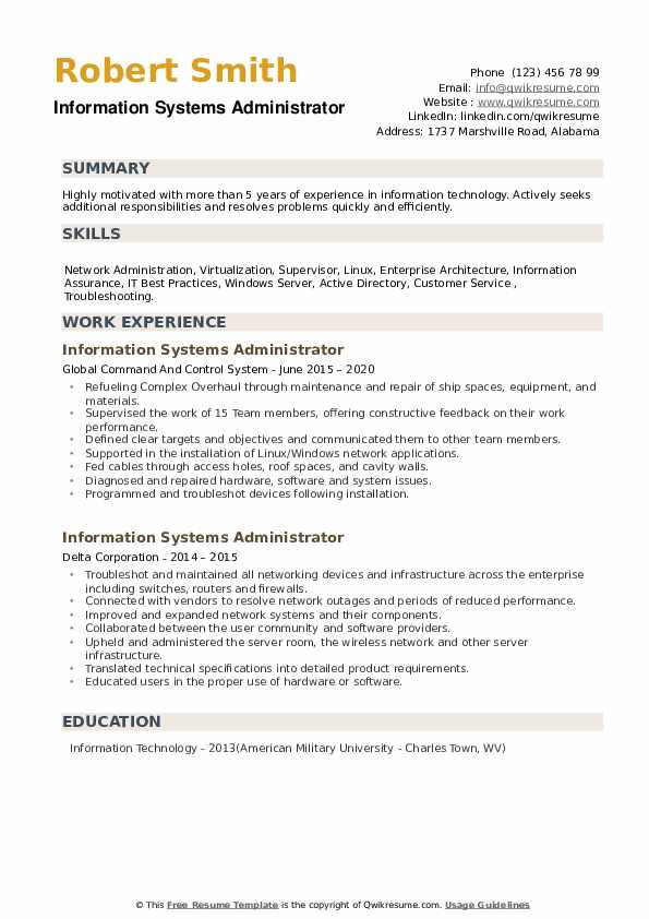 Information Systems Administrator Resume example