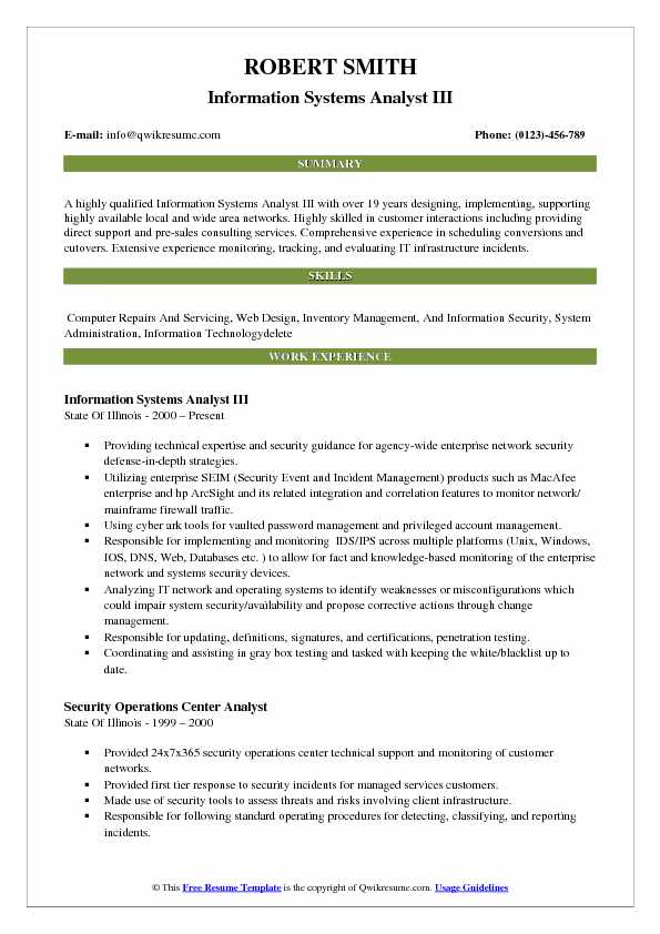 information systems analyst resume samples