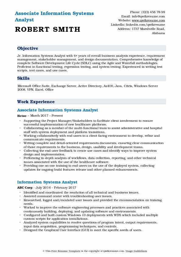 Associate Information Systems Analyst Resume Format