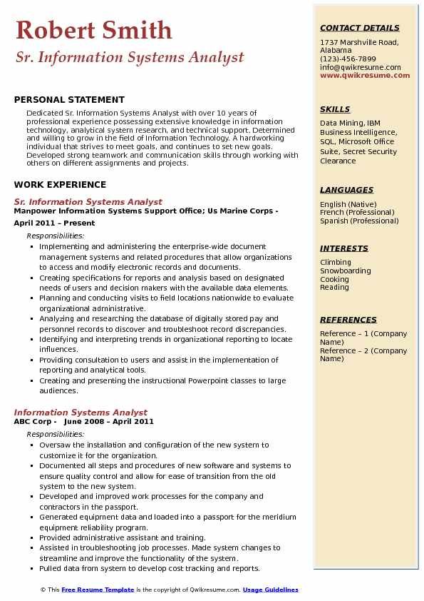 Sr. Information Systems Analyst Resume Template