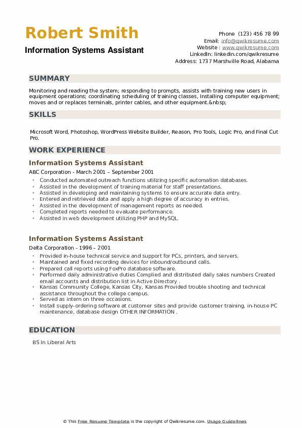 Information Systems Assistant Resume example