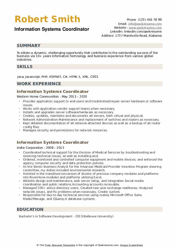 Information Systems Coordinator Resume example