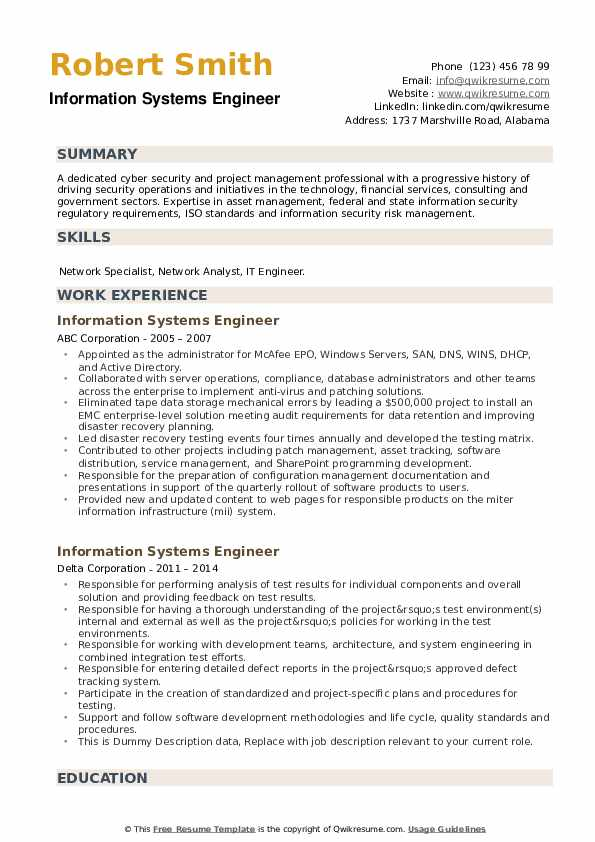 Information Systems Engineer Resume example