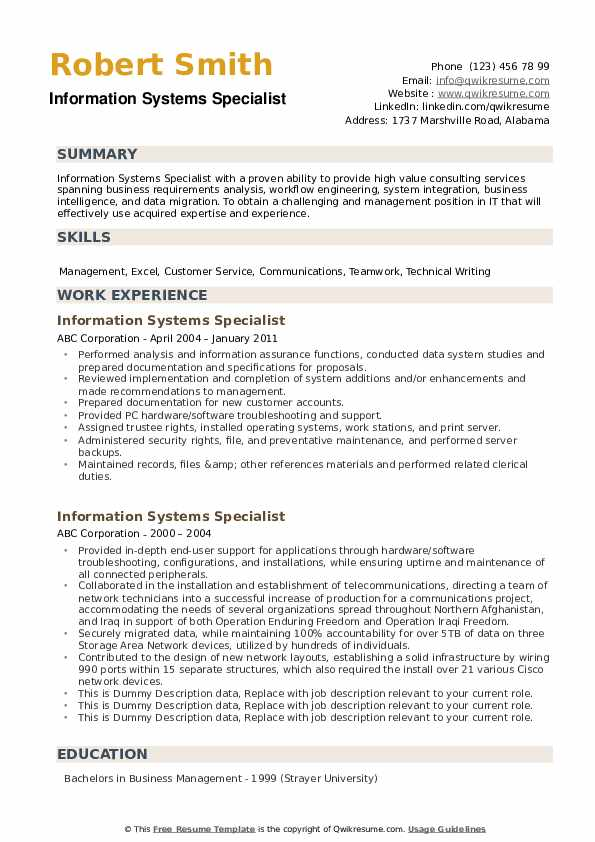 Information Systems Specialist Resume example