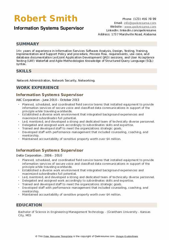 Information Systems Supervisor Resume example
