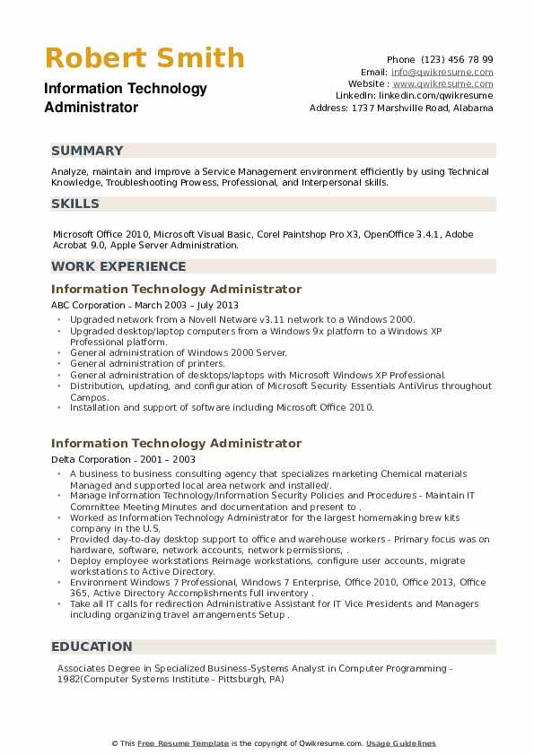 Information Technology Administrator Resume example