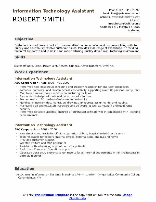 Information Technology Assistant Resume Samples Qwikresume