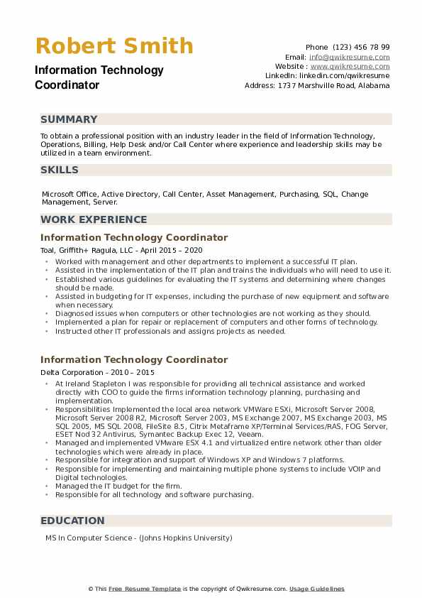 Information Technology Coordinator Resume example