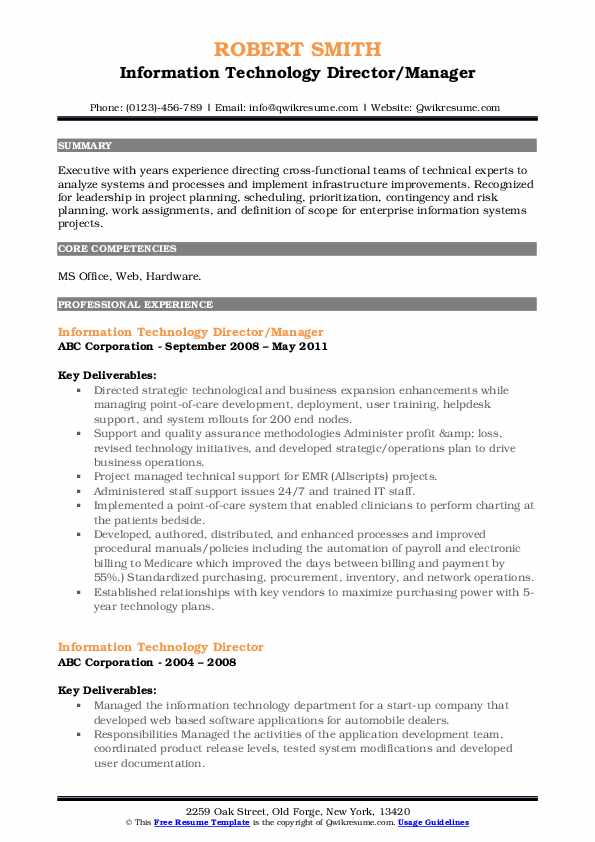 Information Technology Director/Manager Resume Format