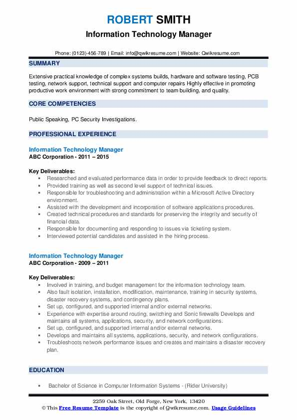 Information Technology Manager Resume example