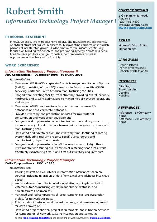information technology project manager resume samples