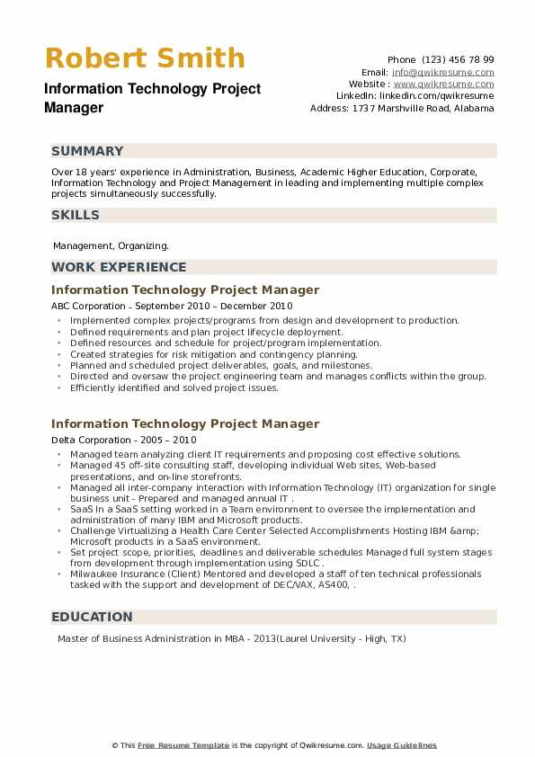 Information Technology Project Manager Resume example