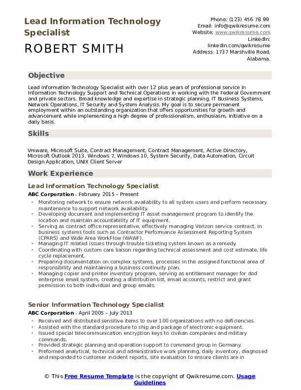 Lead Information Technology Specialist Resume Format