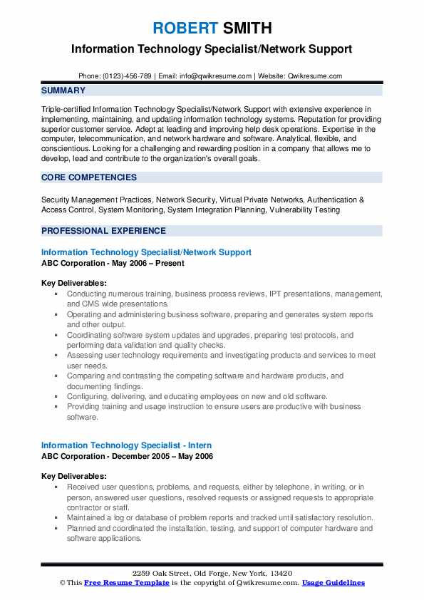 Information Technology Specialist/Network Support Resume Format