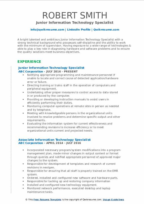 Junior Information Technology Specialist Resume Example