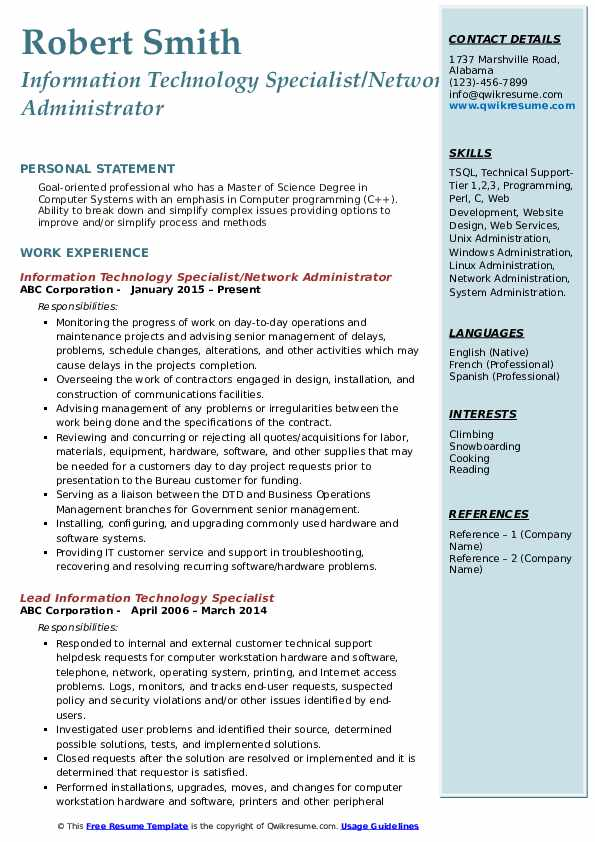 Information Technology Specialist/Network Administrator Resume Template