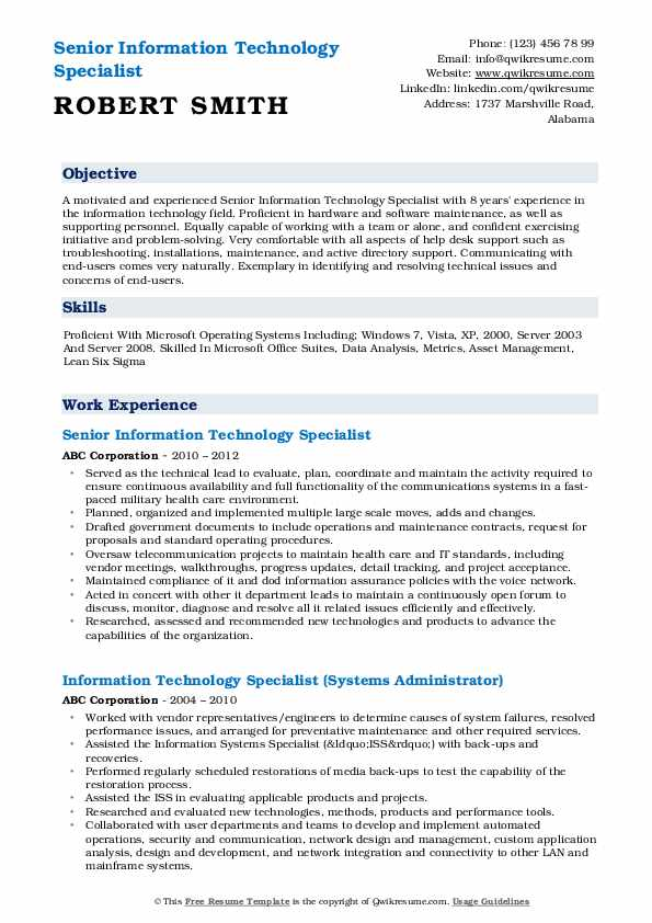 Senior Information Technology Specialist Resume Sample