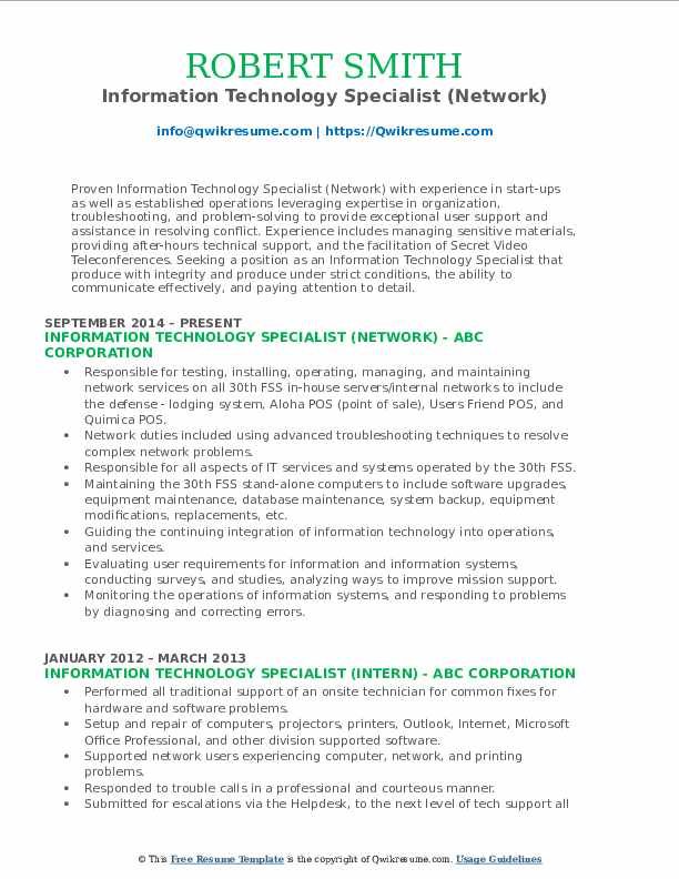 Information Technology Specialist (Network) Resume Model