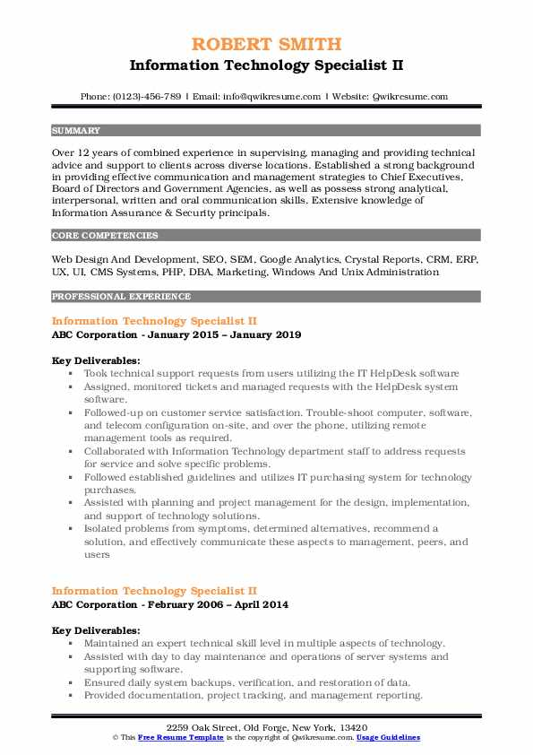 Information Technology Specialist II Resume Template