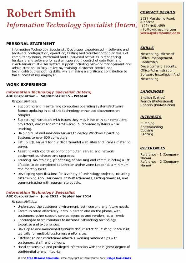 Information Technology Specialist (Intern) Resume Template