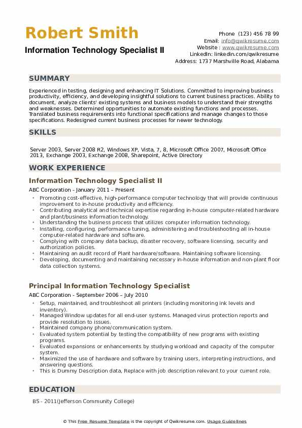 Information Technology Specialist Resume example