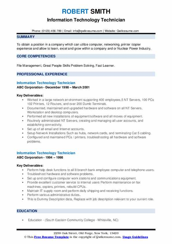 Information Technology Technician Resume example