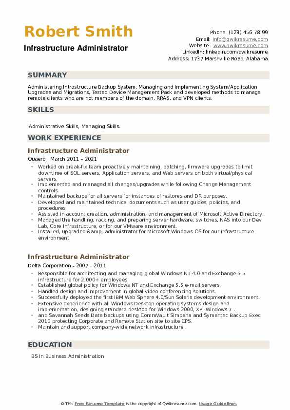 Infrastructure Administrator Resume example
