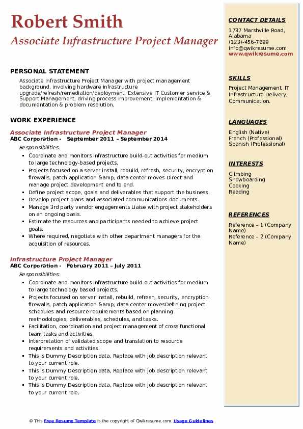Resume project manager infrastructure nh include family business experience resume