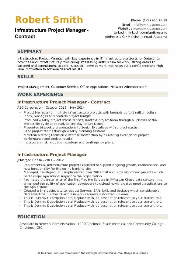 Infrastructure Project Manager Resume example