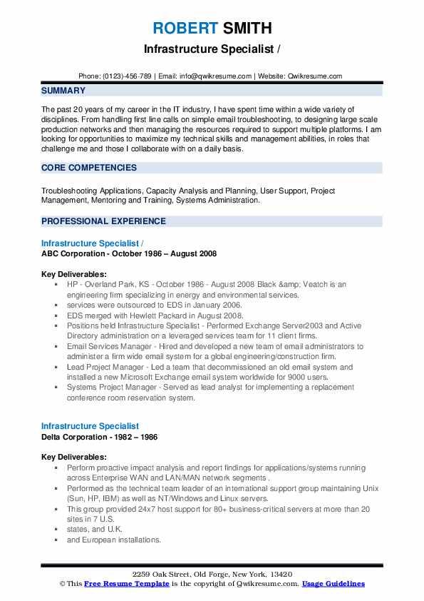 Infrastructure Specialist Resume example