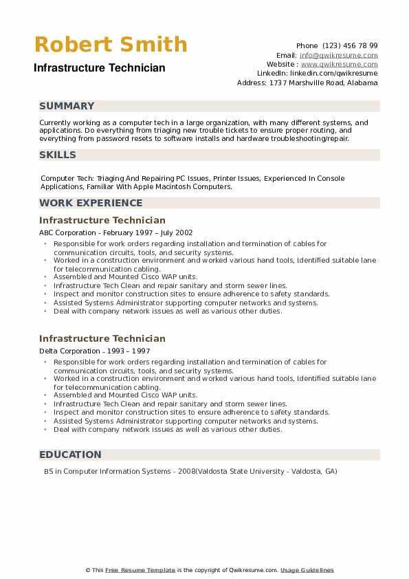 Infrastructure Technician Resume example