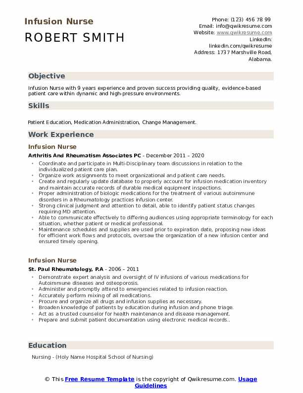 infusion nurse resume samples