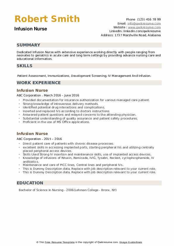 Infusion Nurse Resume example