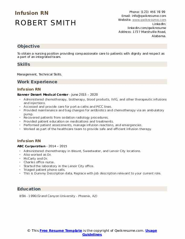 Infusion Rn Resume example