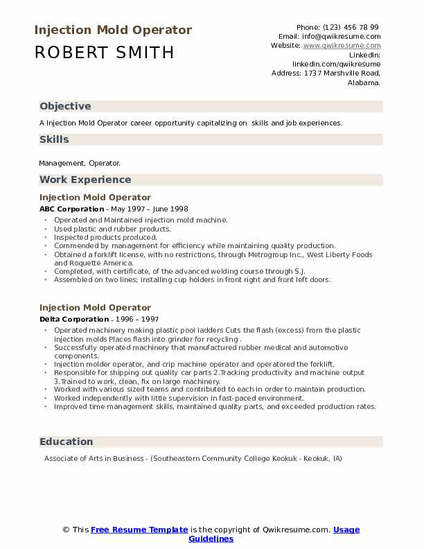 injection mold operator resume samples