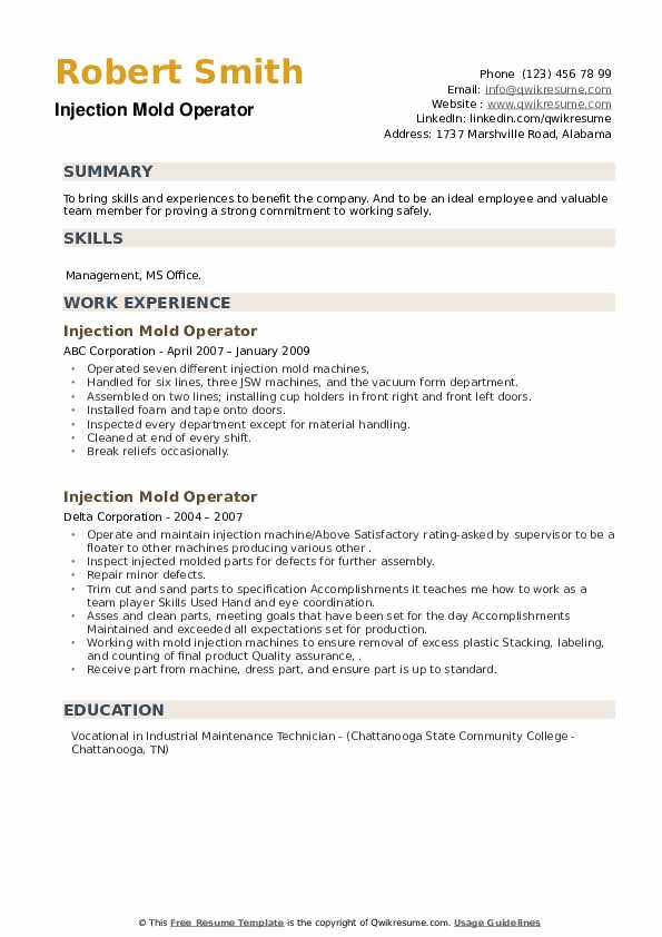 Injection Mold Operator Resume example