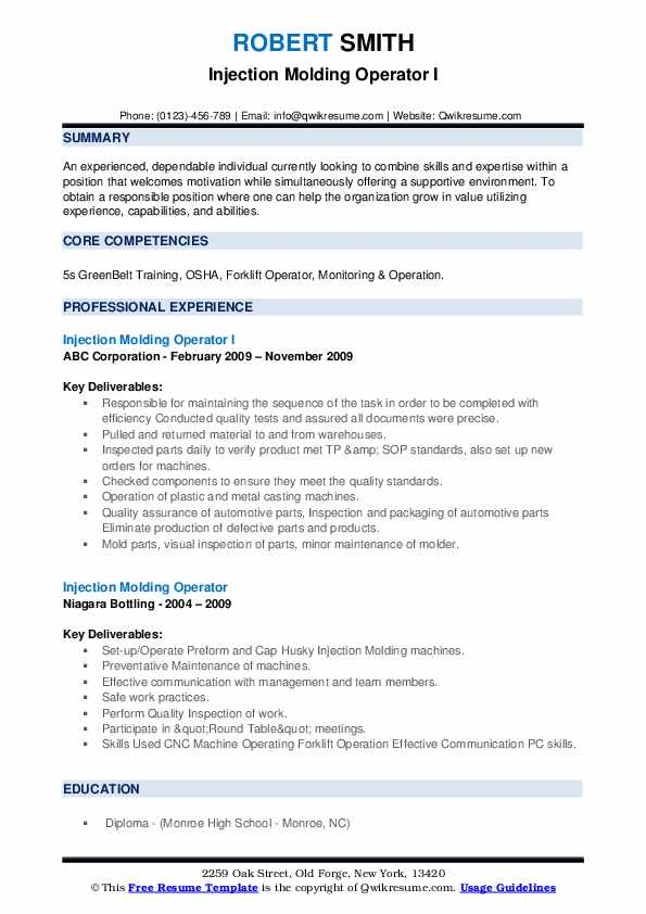 Injection Molding Operator Resume Samples Qwikresume