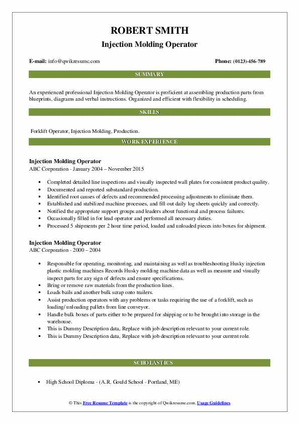 Injection Molding Operator Resume example